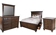 A America Gallatin 4-Piece King Storage Bedroom Set
