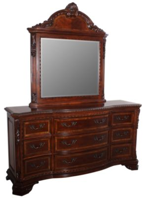 A R T Furniture Old World Dresser With Mirror
