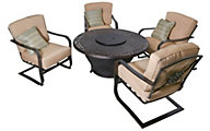 Agio Charleston Fire Pit & 4 Heritage Patio Chairs