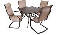 Agio Bellevue Outdoor Dining Table & 4 Sling Chairs