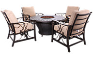 Agio Charleston Gas Fire Pit Table & 4 Seville Chairs
