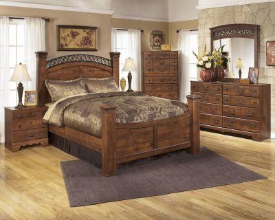 ashley timberline 4 piece queen poster bedroom set