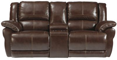 Ashley Lenoris Leather Glider Reclining Loveseat w/Cons.