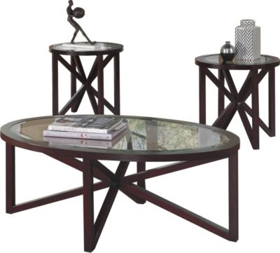 Ashley Sleffine Coffee Table and 2 End Tables