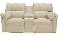 Ashley Kennard Leather Reclining Loveseat with Console