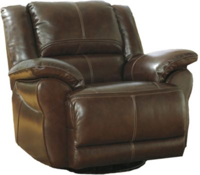 Ashley Lenoris Leather Swivel Power Rocker Recliner