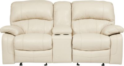 Ashley Damacio Leather Power Reclining Loveseat w/Console