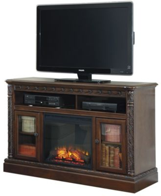 Ashley North Shore TV Stand with Fireplace Insert