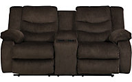 Ashley Garek Brown Reclining Loveseat with Console