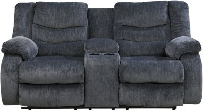 Ashley Garek Blue Reclining Loveseat with Console