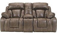 Ashley Loral Gliding Reclining Loveseat with Console