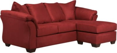 Ashley darcy microfiber red sofa chaise homemakers furniture for Ashley microfiber sectional with chaise