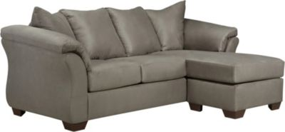Ashley darcy microfiber gray sofa chaise homemakers for Ashley microfiber sectional with chaise