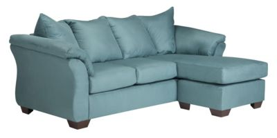 Ashley darcy microfiber blue sofa chaise homemakers for Ashley microfiber sectional with chaise