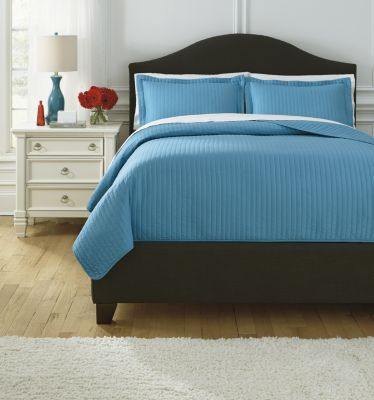 Ashley Raleda Turquoise 3-Piece Queen Coverlet Set