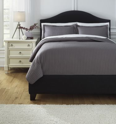 Ashley Raleda Gray 3-Piece Queen Coverlet Set