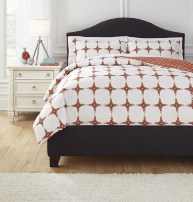 Ashley Cyrun Orange 3-Piece King Duvet Cover Set