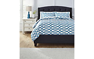 Ashley Leander Turquoise 3-Piece Queen Duvet Cover Set