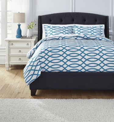Ashley Leander Turquoise 3-Piece King Duvet Cover Set