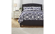 Ashley Imelda Navy 3-Piece Queen Duvet Set