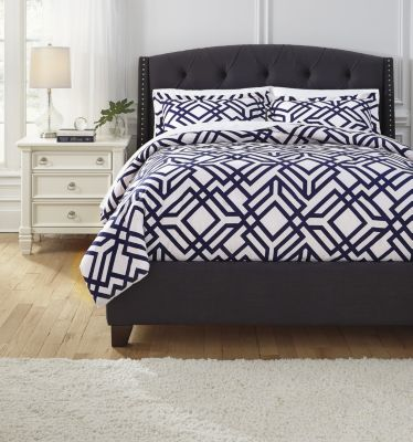 Ashley Imelda Navy 3-Piece King Duvet Set