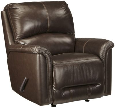 Ashley Lacotter Chocolate Leather Rocker Recliner