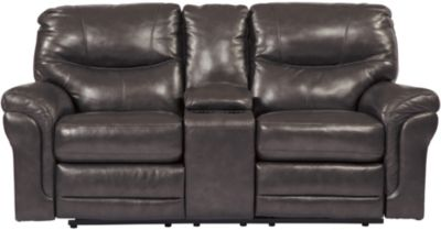 Ashley Banetonville Leather Reclining Loveseat with Conso