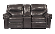 Ashley Banetonville Leather Power Recline Loveseat w/Cons