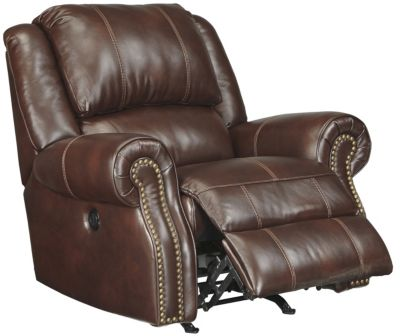 Ashley Collinsville Chestnut Leather Rocker Recliner