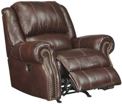 Ashley Collinsville Chestnut Leather Power Rocker Recline