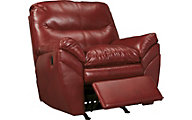 Ashley Tassler Cherry Bonded Leather Rocker Recliner