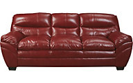Ashley Tassler Crimson Bonded Leather Sofa