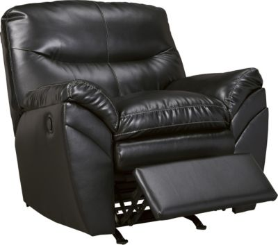 Ashley Tassler Black Bonded Leather Rocker Recliner