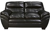 Ashley Tassler Black Bonded Leather Loveseat