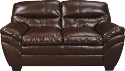 Ashley Tassler Coffee Bonded Leather Loveseat