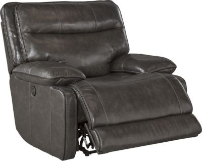 Ashley Palladum Leather Power Rocker Recliner