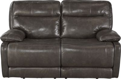 Ashley Palladum Leather Reclining Loveseat