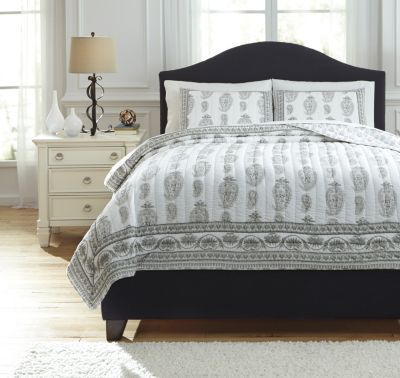 Ashley Almeda Gray 3-Piece Queen Coverlet Set