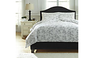 Ashley Florina Gray 3-Piece King Duvet Cover Set