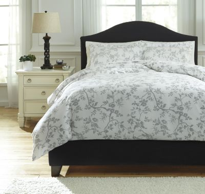 Ashley Florina Gray 3-Piece Queen Duvet Cover Set
