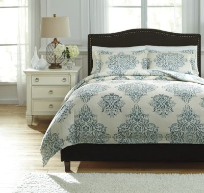 Ashley Fairholm Turquoise 3-Piece Queen Duvet Cover Set