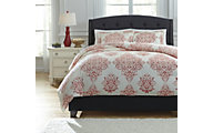Ashley Fairholm Red 3-Piece Queen Duvet Cover Set
