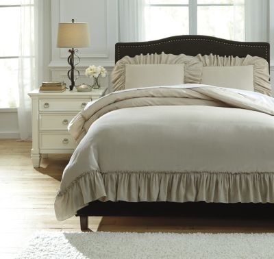 Ashley Clarksdale Natural 3-Piece Queen Duvet Cover Set