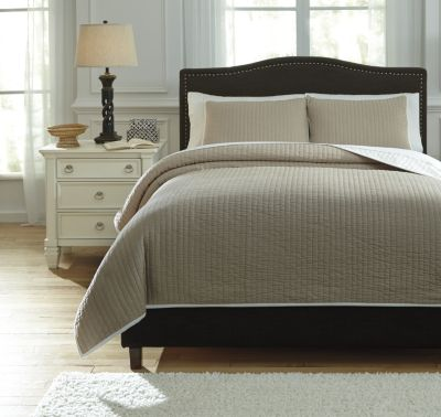 Ashley Orson Natural 3-Piece Queen Coverlet Set