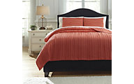 Ashley Solsta Coral 3-Piece Queen Coverlet Set