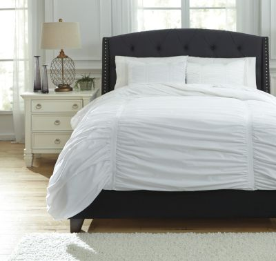 Ashley Tufton White 3-Piece Queen Duvet Cover Set