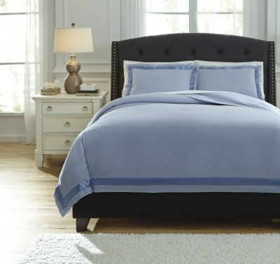 Ashley Farday Blue 3-Piece King Duvet Cover Set