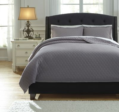 Ashley Alecio Gray 3-Piece Queen Quilt Set