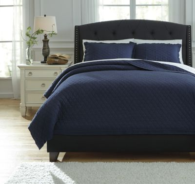 Ashley Alecio Navy 3-Piece King Quilt Set