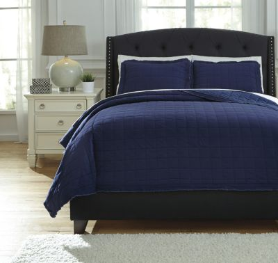 Ashley Amare Navy 3-Piece Queen Coverlet Set